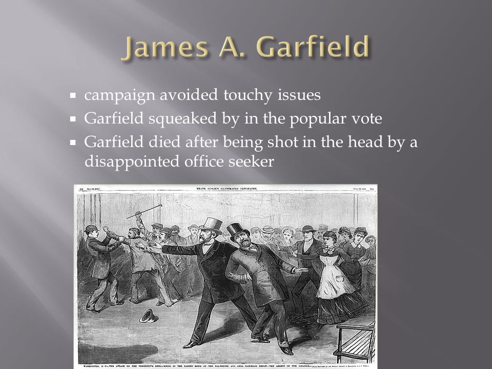  campaign avoided touchy issues  Garfield squeaked by in the popular vote  Garfield died after being shot in the head by a disappointed office seeker