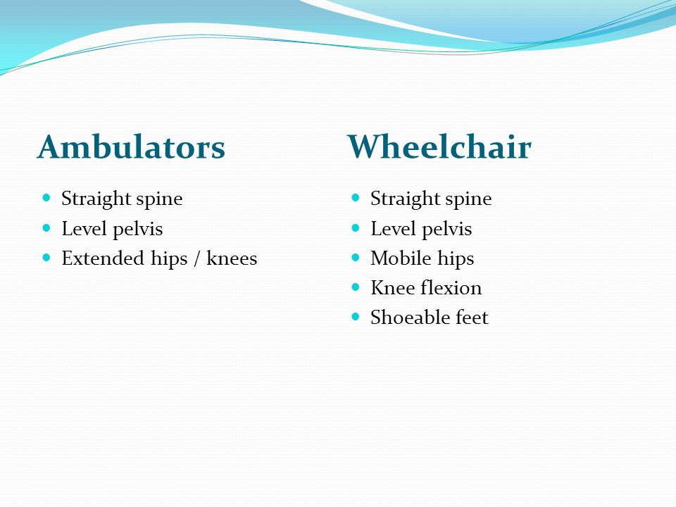 AmbulatorsWheelchair Straight spine Level pelvis Extended hips / knees Straight spine Level pelvis Mobile hips Knee flexion Shoeable feet