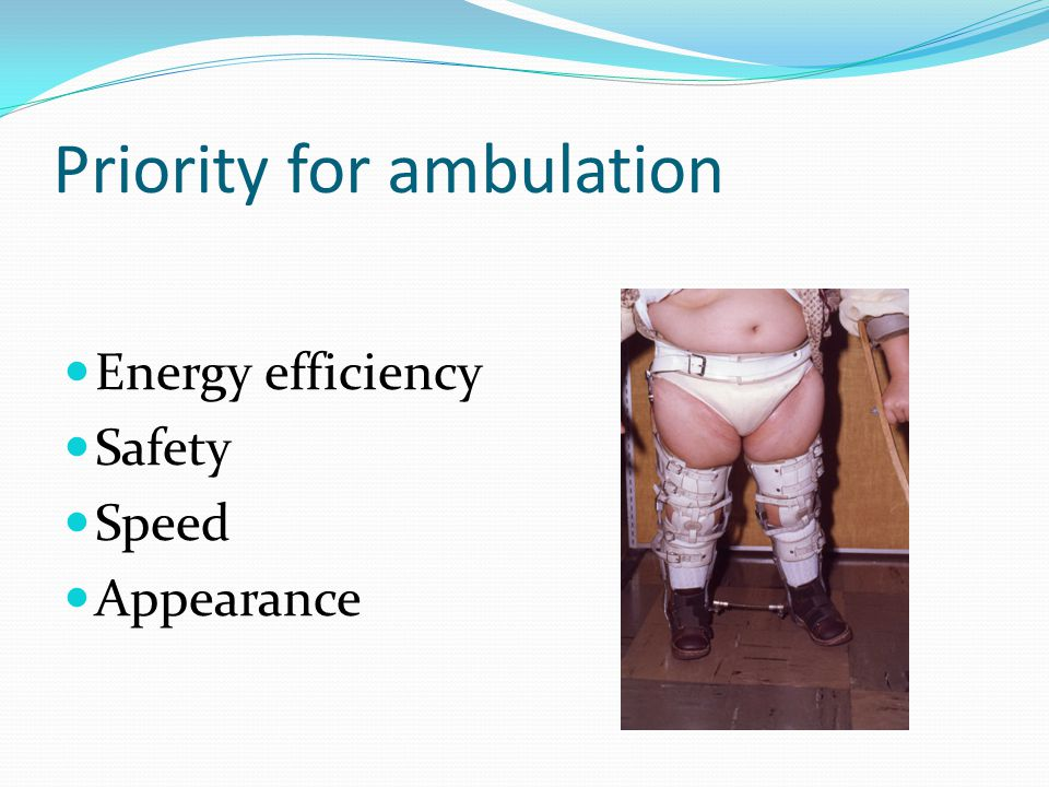 Priority for ambulation Energy efficiency Safety Speed Appearance