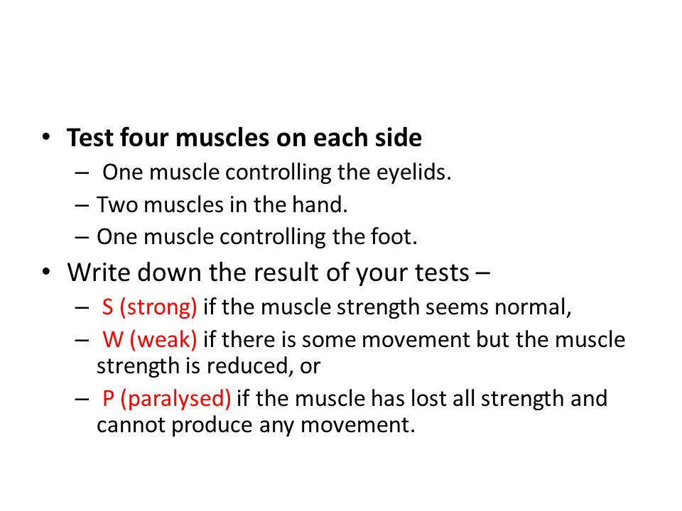 Test four muscles on each side – One muscle controlling the eyelids.