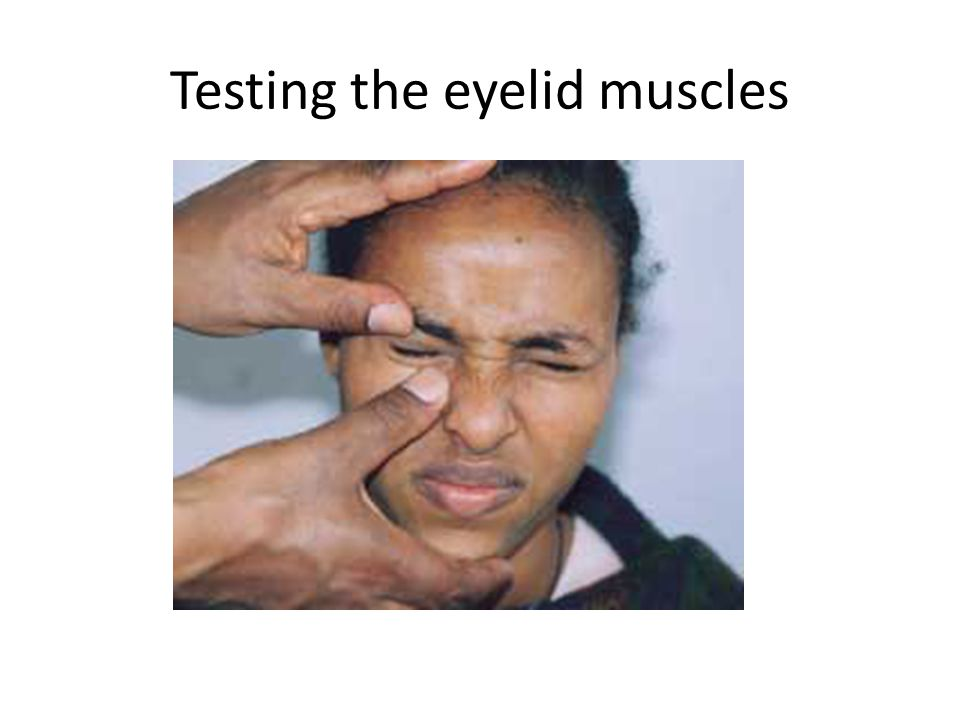 Testing the eyelid muscles