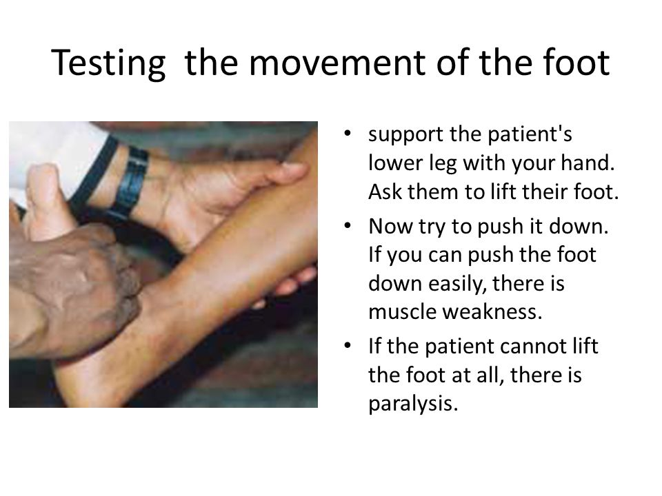 Testing the movement of the foot support the patient s lower leg with your hand.