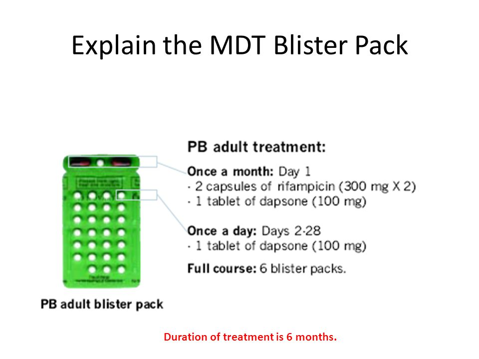 Explain the MDT Blister Pack Duration of treatment is 6 months.