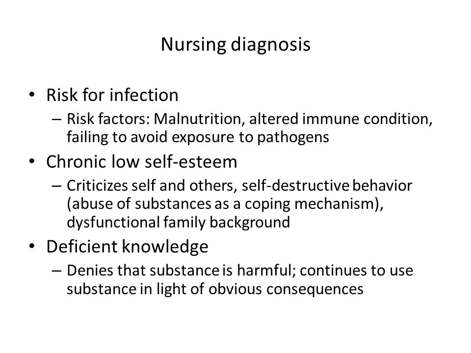 Nursing diagnosis Risk for infection – Risk factors: Malnutrition, altered immune condition, failing to avoid exposure to pathogens Chronic low self-e
