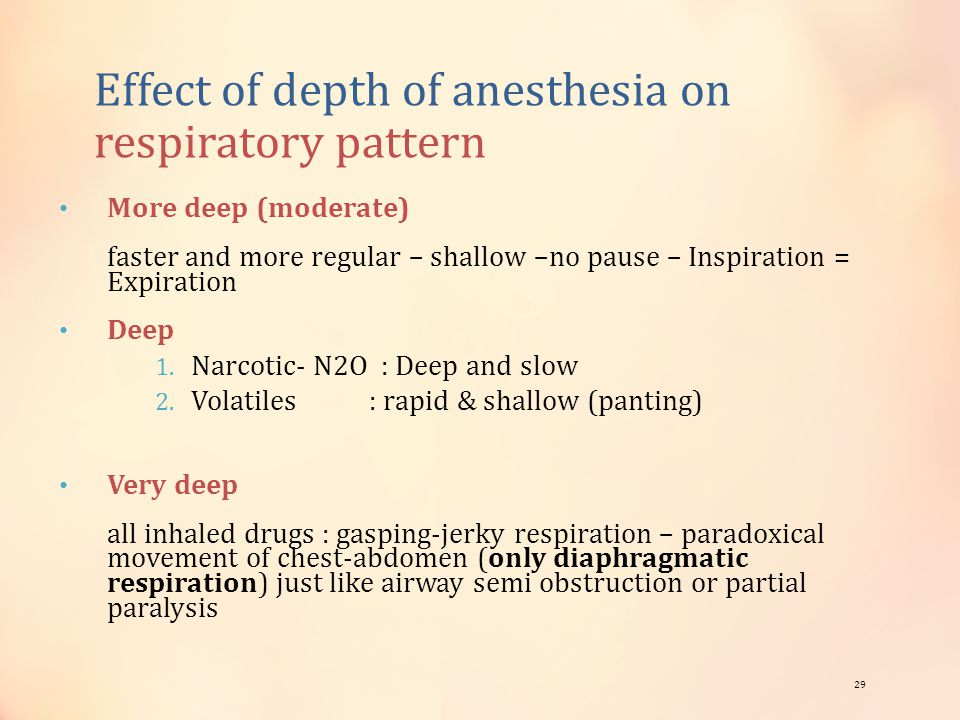 Effect of depth of anesthesia on respiratory pattern More deep (moderate) faster and more regular – shallow –no pause – Inspiration = Expiration Deep