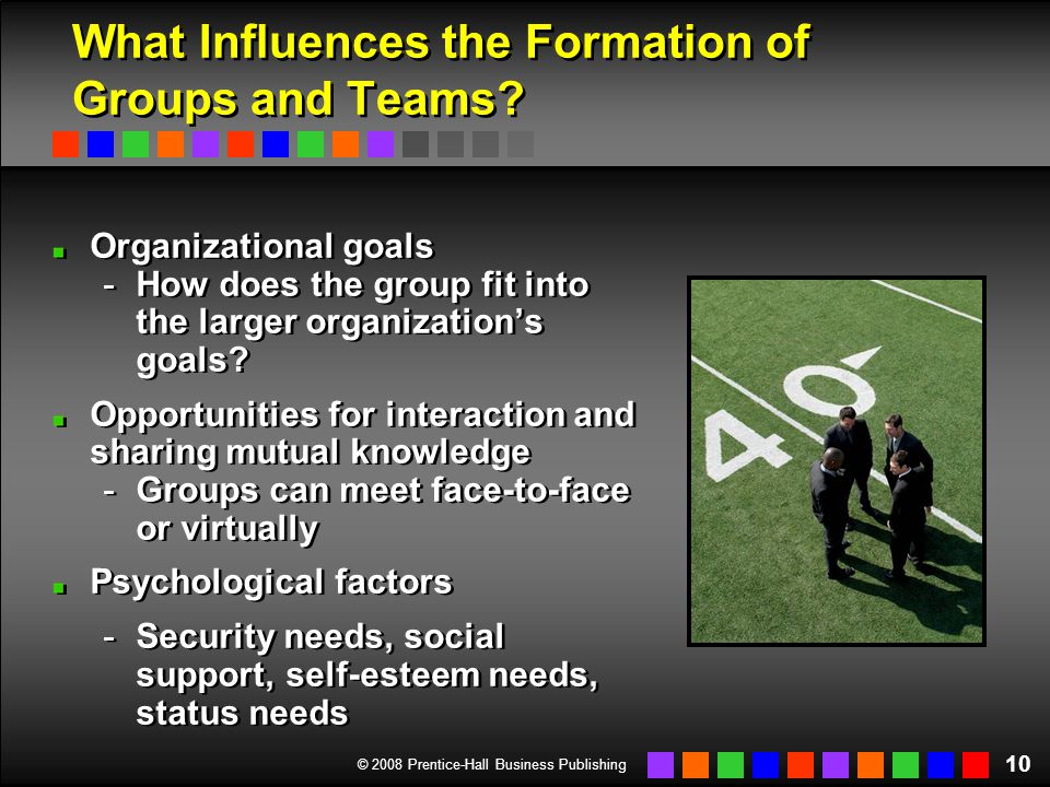 © 2008 Prentice-Hall Business Publishing 10 What Influences the Formation of Groups and Teams? Organizational goals -How does the group fit into the l