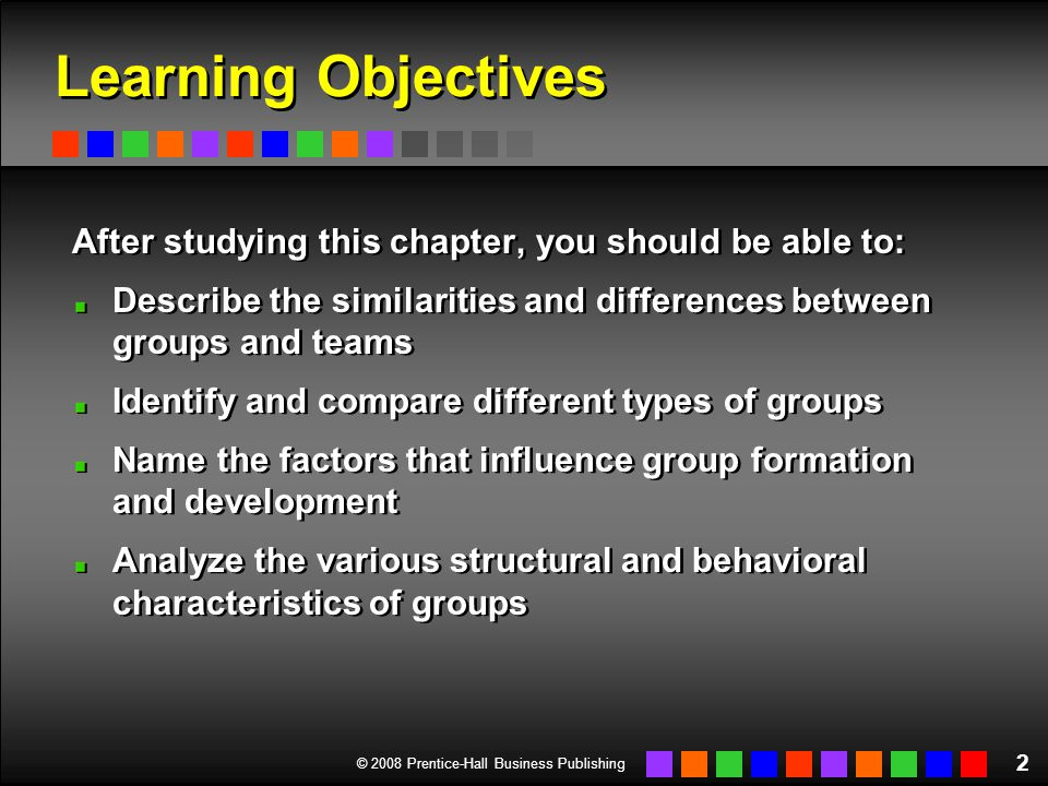 © 2008 Prentice-Hall Business Publishing 2 Learning Objectives After studying this chapter, you should be able to: Describe the similarities and diffe