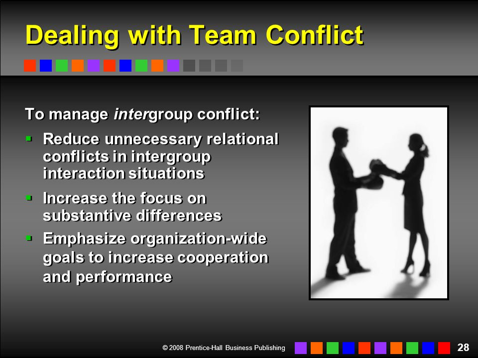 © 2008 Prentice-Hall Business Publishing 28 Dealing with Team Conflict To manage intergroup conflict:  Reduce unnecessary relational conflicts in int