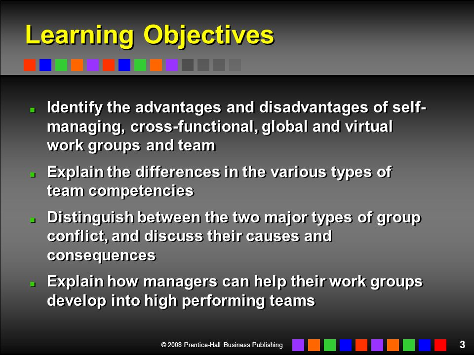 © 2008 Prentice-Hall Business Publishing 4 Group versus Team Group A set of people, usually from 3 to 20 Some degree of interaction and shared objectives Group A set of people, usually from 3 to 20 Some degree of interaction and shared objectives Team A type or form of group Higher degree of coordinated interaction Stronger sense of members' personal responsibility for achieving specified group outcomes High level of members' identification with the group Team A type or form of group Higher degree of coordinated interaction Stronger sense of members' personal responsibility for achieving specified group outcomes High level of members' identification with the group vs.