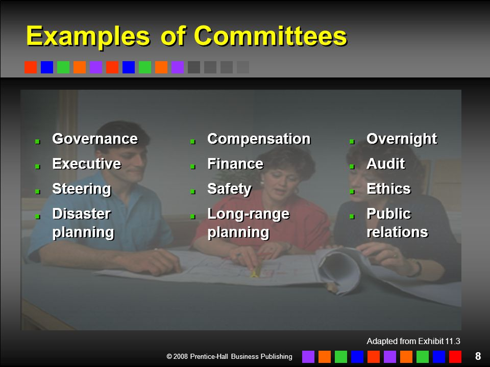 © 2008 Prentice-Hall Business Publishing 8 Adapted from Exhibit 11.3 Examples of Committees Governance Executive Steering Disaster planning Governance