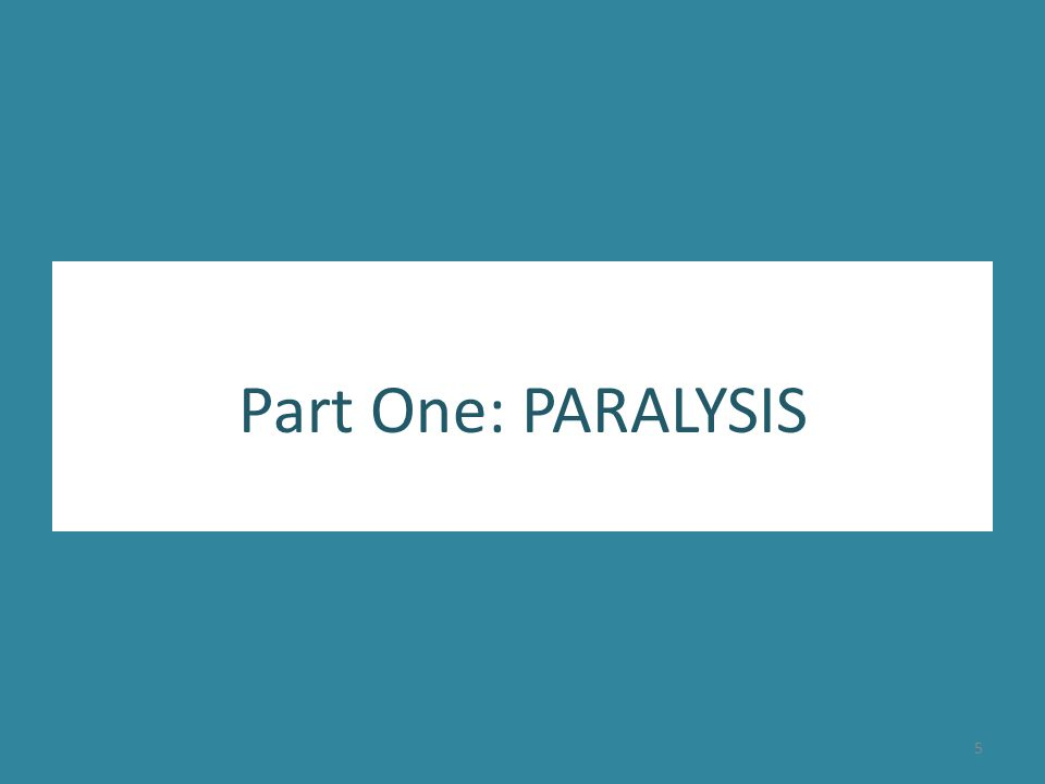 Part One: PARALYSIS 5