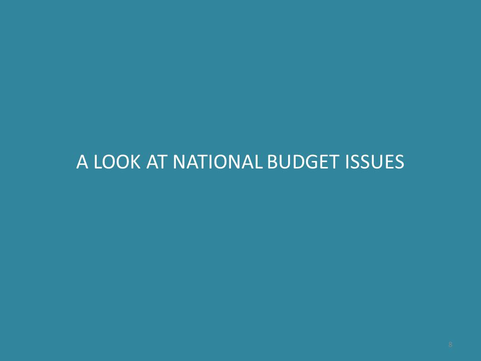 A LOOK AT NATIONAL BUDGET ISSUES 8
