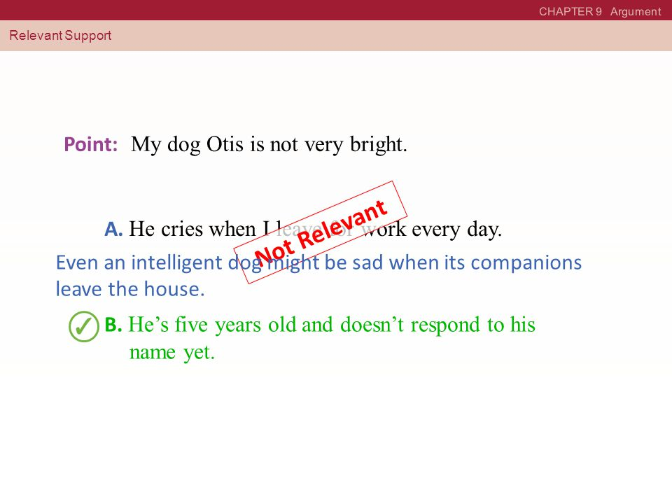 CHAPTER 9 Argument Relevant Support Point: My dog Otis is not very bright.