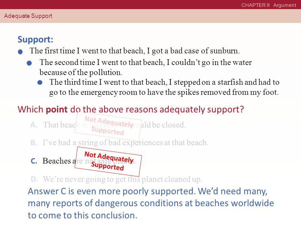 CHAPTER 9 Argument Adequate Support Support: The first time I went to that beach, I got a bad case of sunburn.