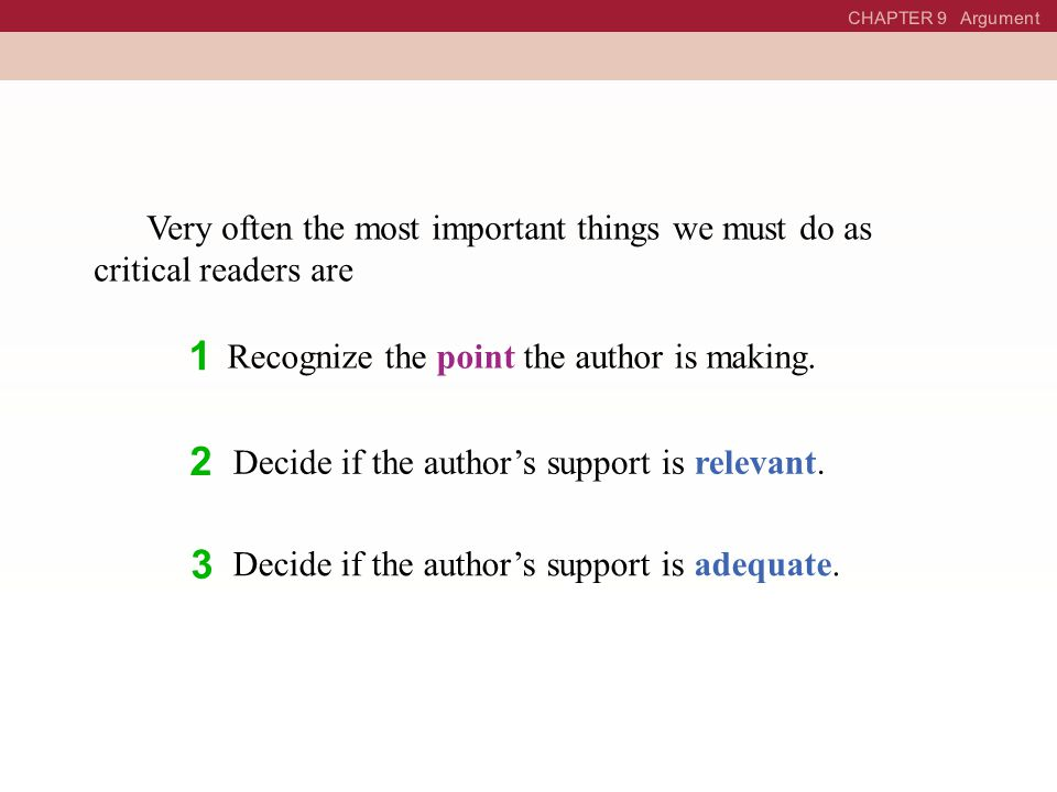 CHAPTER 9 Argument The Basics of Argument: Point and Support Point Evidence A Good Argument A good argument is one in which you make a point and then provide persuasive and logical evidence to back it up.