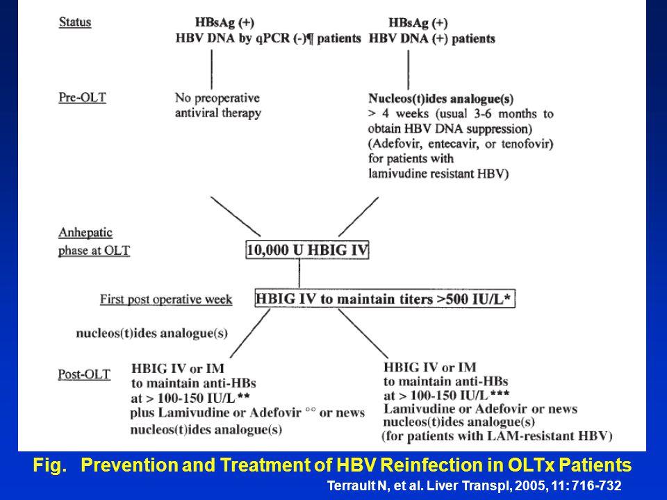 Terrault N, et al. Liver Transpl, 2005, 11: 716-732 Fig. Prevention and Treatment of HBV Reinfection in OLTx Patients
