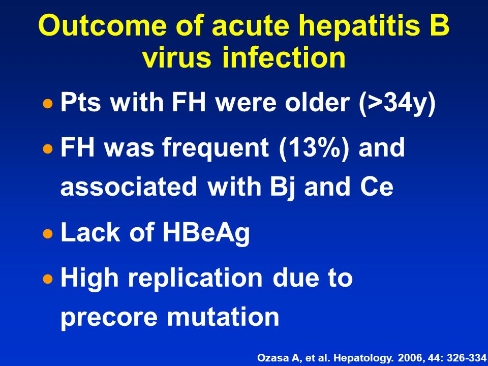 Outcome of acute hepatitis B virus infection  Pts with FH were older (>34y)  FH was frequent (13%) and associated with Bj and Ce  Lack of HBeAg  H