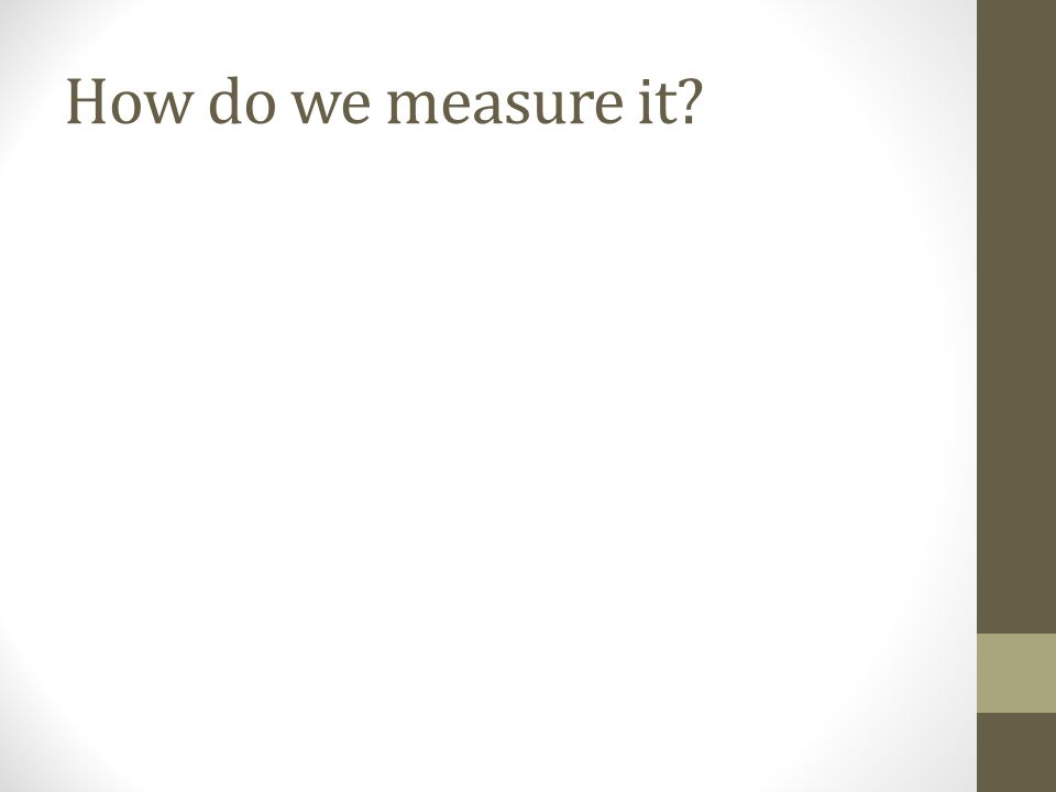 How do we measure it