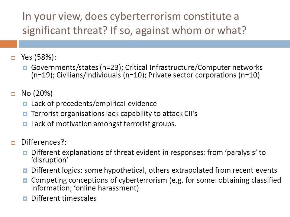 In your view, does cyberterrorism constitute a significant threat? If so, against whom or what?  Yes (58%):  Governments/states (n=23); Critical Inf