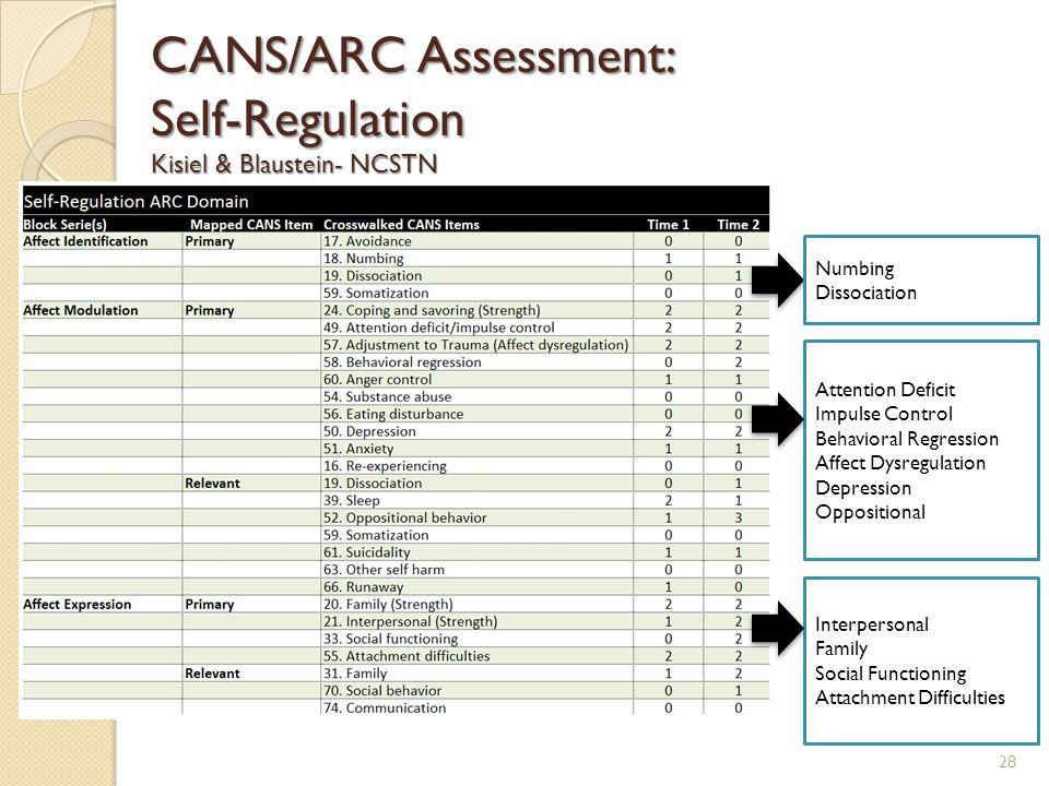 CANS/ARC Assessment: Self-Regulation Kisiel & Blaustein- NCSTN Numbing Dissociation Attention Deficit Impulse Control Behavioral Regression Affect Dys