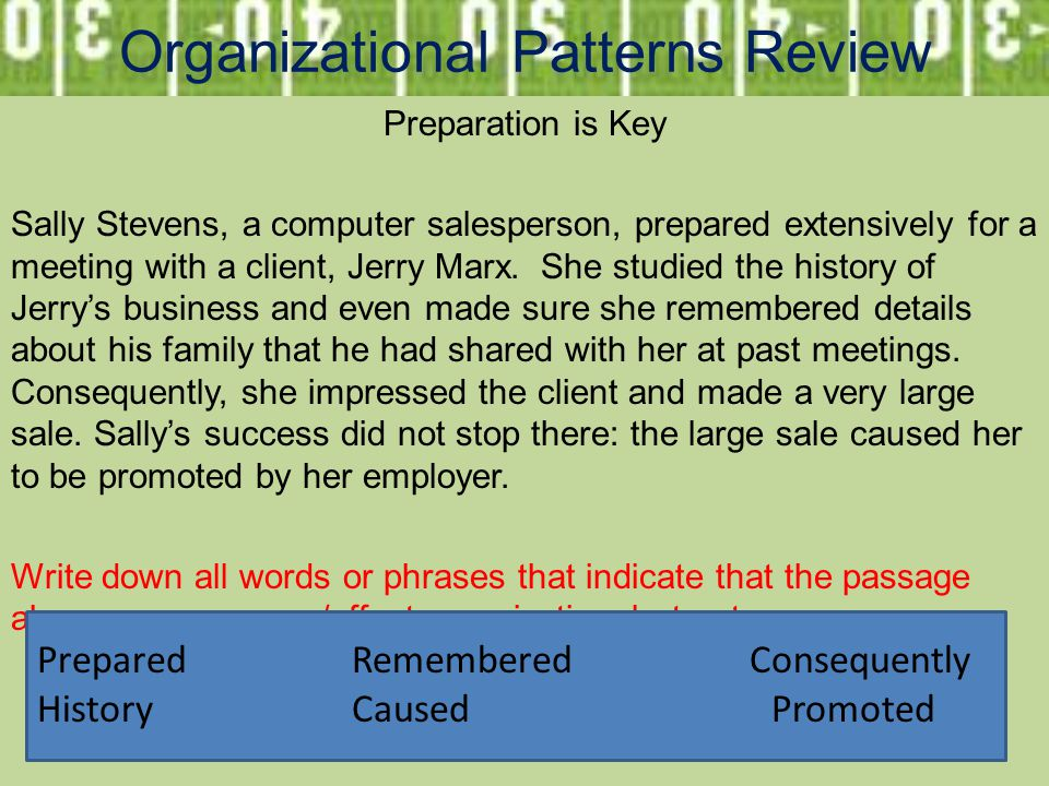 Organizational Patterns Review Preparation is Key Sally Stevens, a computer salesperson, prepared extensively for a meeting with a client, Jerry Marx.