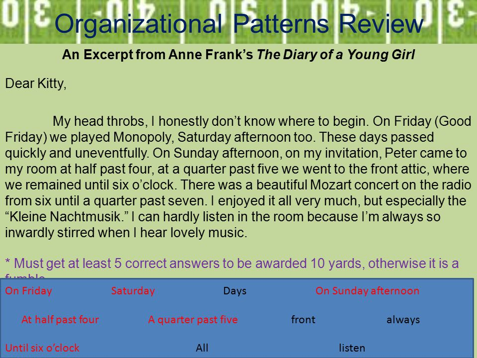 Organizational Patterns Review An Excerpt from Anne Frank's The Diary of a Young Girl Dear Kitty, My head throbs, I honestly don't know where to begin.