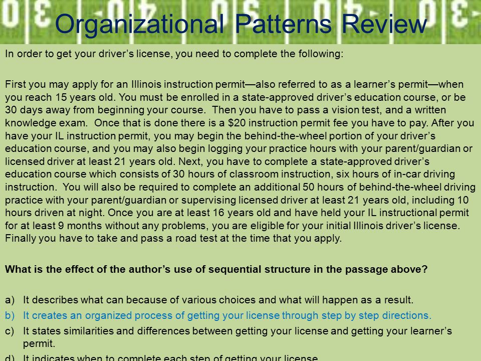 Organizational Patterns Review In order to get your driver's license, you need to complete the following: First you may apply for an Illinois instruction permit—also referred to as a learner's permit—when you reach 15 years old.