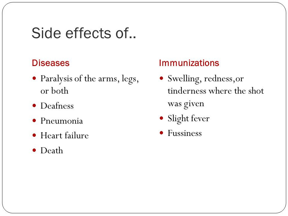 Side effects of.. DiseasesImmunizations Paralysis of the arms, legs, or both Deafness Pneumonia Heart failure Death Swelling, redness,or tinderness wh