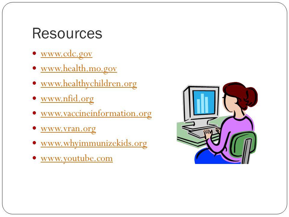 Resources www.cdc.gov www.health.mo.gov www.healthychildren.org www.nfid.org www.vaccineinformation.org www.vran.org www.whyimmunizekids.org www.youtube.com