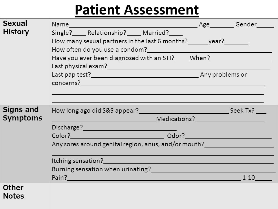 Patient Assessment Sexual History Name_____________________________________ Age_______ Gender_____ Single?____ Relationship.