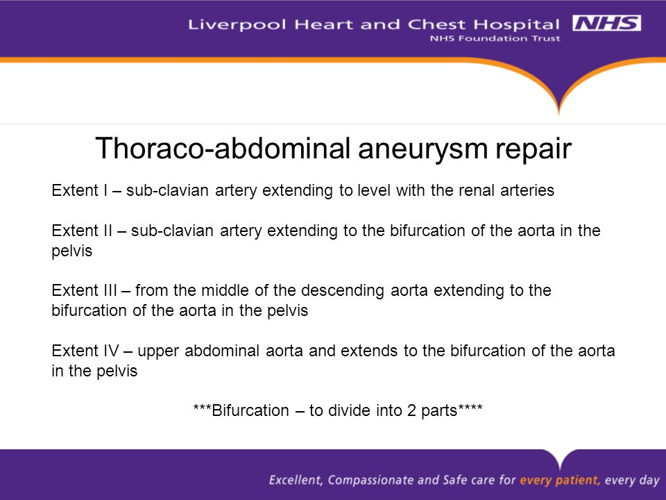 Extent I – sub-clavian artery extending to level with the renal arteries Extent II – sub-clavian artery extending to the bifurcation of the aorta in t