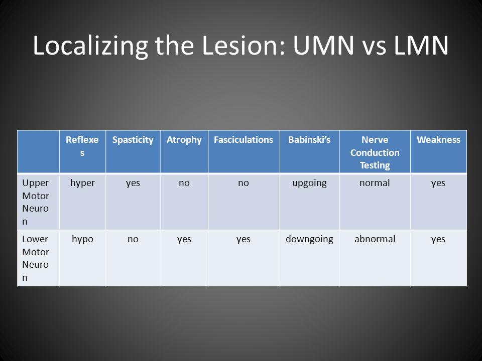 Localizing the Lesion: UMN vs LMN Reflexe s SpasticityAtrophyFasciculationsBabinski'sNerve Conduction Testing Weakness Upper Motor Neuro n hyperyesno upgoingnormalyes Lower Motor Neuro n hyponoyes downgoingabnormalyes