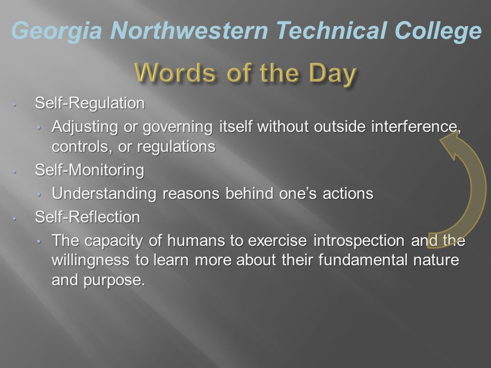 Georgia Northwestern Technical College Self-Regulation Self-Regulation Adjusting or governing itself without outside interference, controls, or regulations Adjusting or governing itself without outside interference, controls, or regulations Self-Monitoring Self-Monitoring Understanding reasons behind one's actions Understanding reasons behind one's actions Self-Reflection Self-Reflection The capacity of humans to exercise introspection and the willingness to learn more about their fundamental nature and purpose.