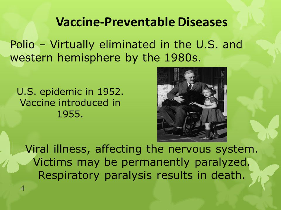 4 Vaccine-Preventable Diseases Polio – Virtually eliminated in the U.S.
