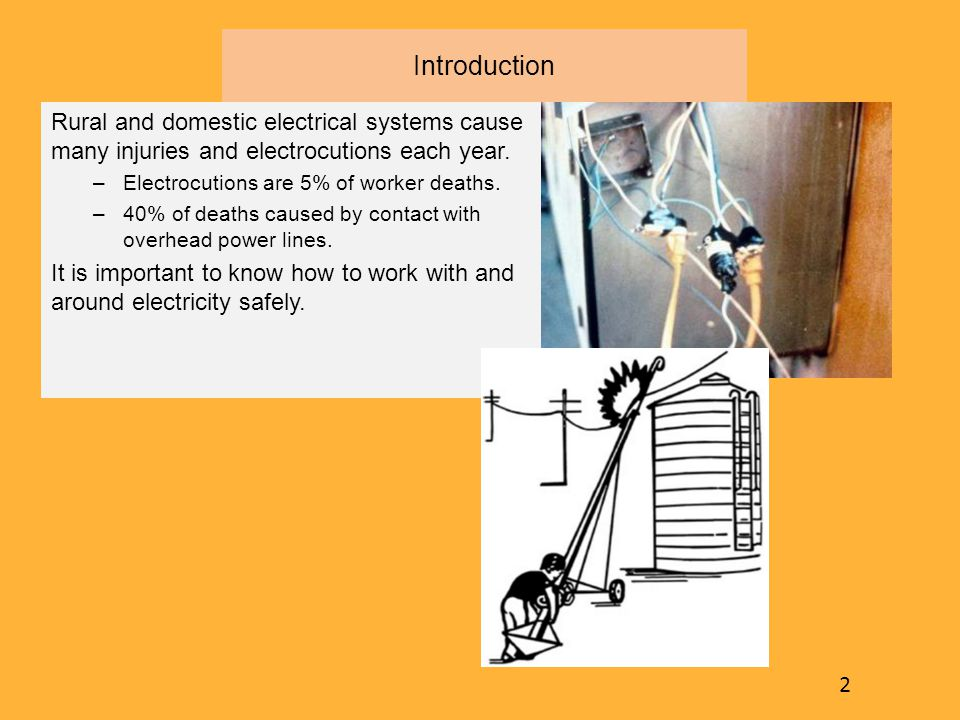 Introduction Rural and domestic electrical systems cause many injuries and electrocutions each year. –Electrocutions are 5% of worker deaths. –40% of