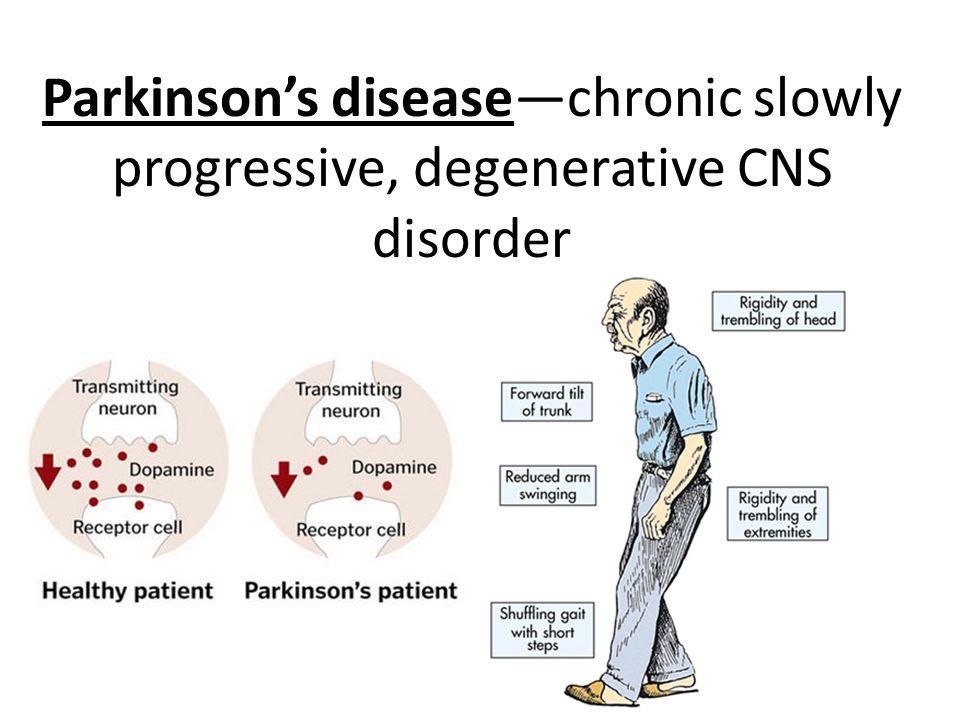 Parkinson's disease—chronic slowly progressive, degenerative CNS disorder