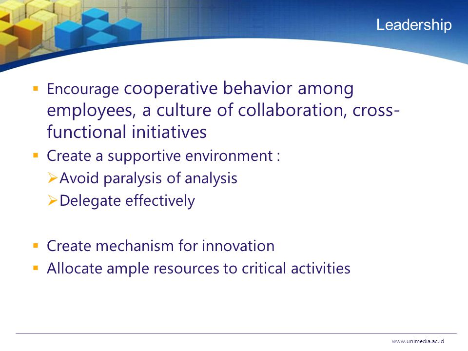 Leadership  Encourage cooperative behavior among employees, a culture of collaboration, cross- functional initiatives  Create a supportive environment :  Avoid paralysis of analysis  Delegate effectively  Create mechanism for innovation  Allocate ample resources to critical activities www.unimedia.ac.id