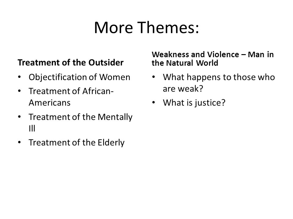 More Themes: Treatment of the Outsider Objectification of Women Treatment of African- Americans Treatment of the Mentally Ill Treatment of the Elderly