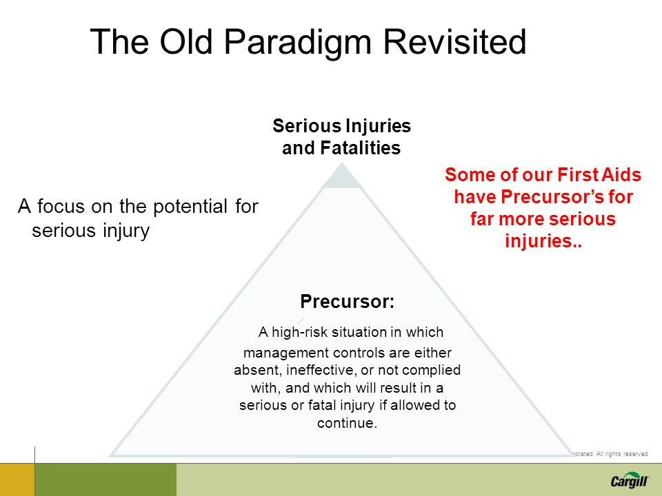 © 2011 Cargill Incorporated. All rights reserved The Old Paradigm Revisited A focus on the potential for serious injury Precursor: A high-risk situati