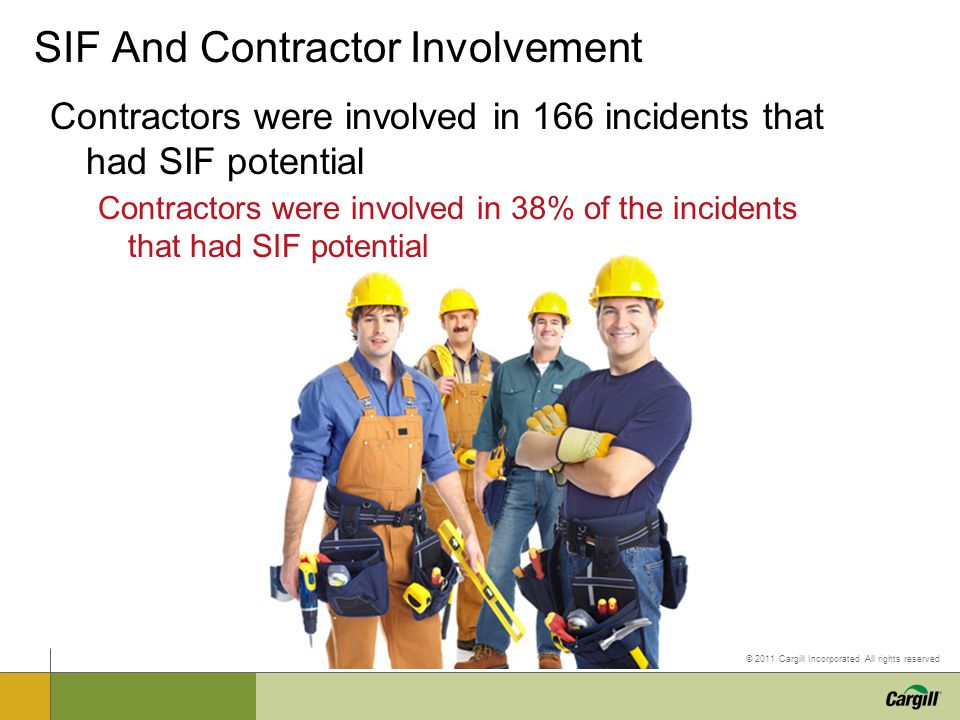 © 2011 Cargill Incorporated. All rights reserved SIF And Contractor Involvement Contractors were involved in 166 incidents that had SIF potential Cont