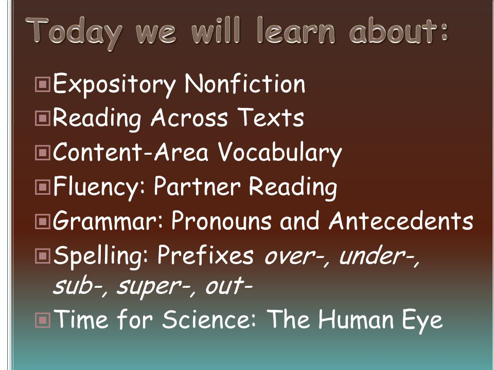 Expository Nonfiction Reading Across Texts Content-Area Vocabulary Fluency: Partner Reading Grammar: Pronouns and Antecedents Spelling: Prefixes over-, under-, sub-, super-, out- Time for Science: The Human Eye