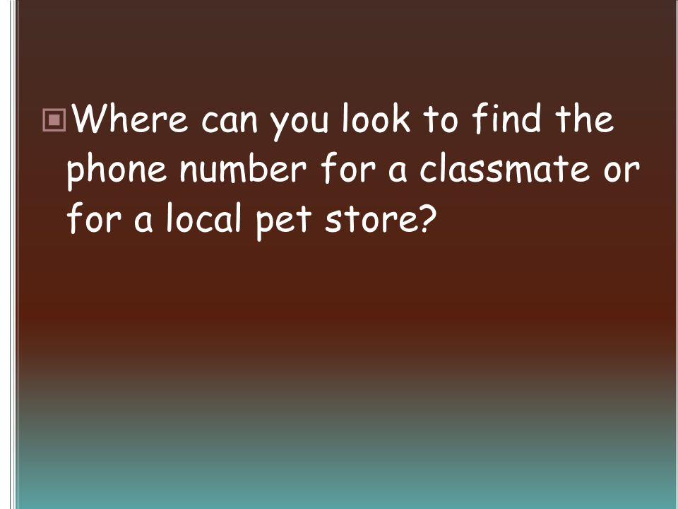 Where can you look to find the phone number for a classmate or for a local pet store?