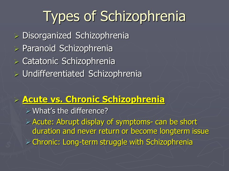 Types of Schizophrenia  Disorganized Schizophrenia  Paranoid Schizophrenia  Catatonic Schizophrenia  Undifferentiated Schizophrenia  Acute vs.