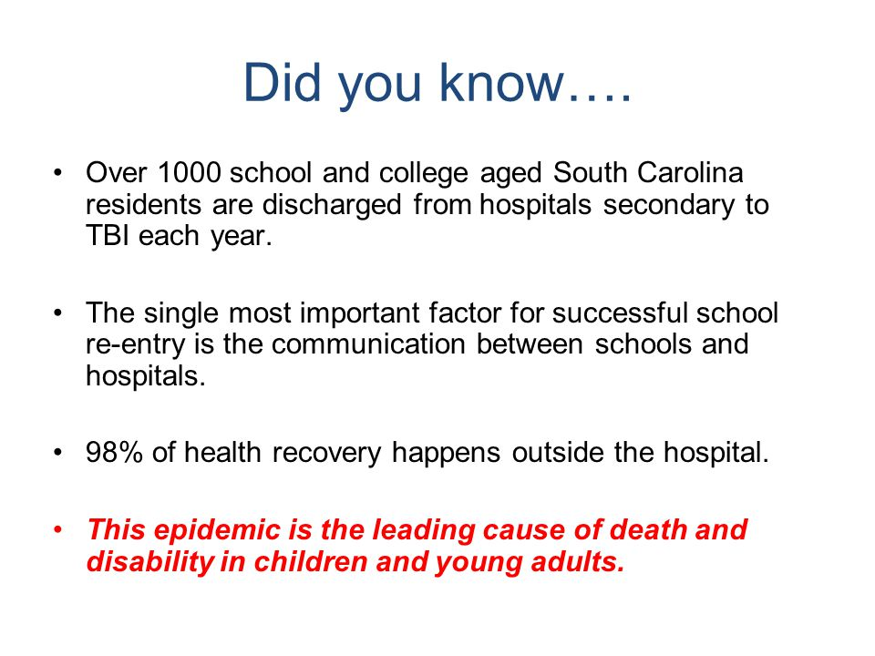 SC Special Ed Law states… Traumatic Brain Injury means an acquired injury to the brain caused by an external physical force, resulting in total or partial functional disability or psychosocial impairment, or both, that adversely affects a student's educational performance.