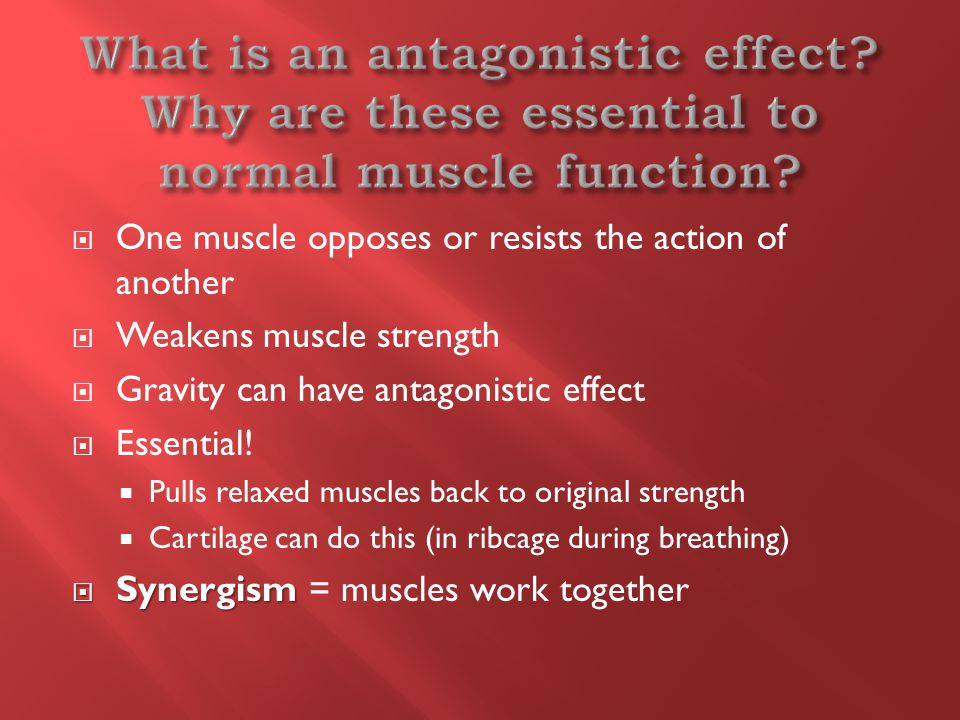  One muscle opposes or resists the action of another  Weakens muscle strength  Gravity can have antagonistic effect  Essential.
