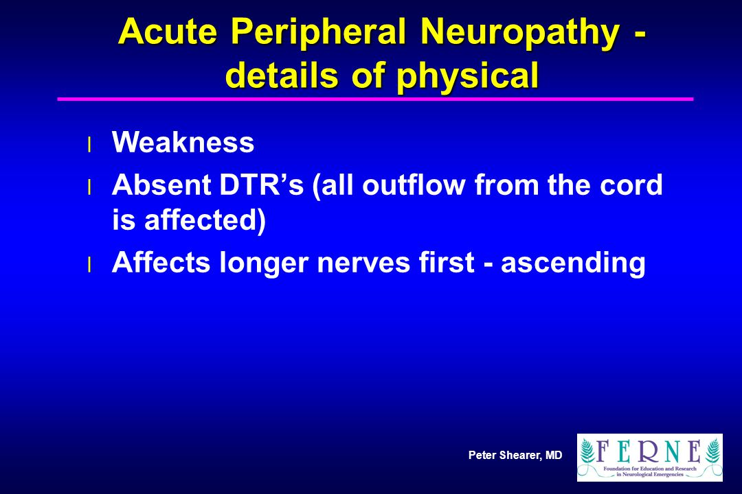 Peter Shearer, MD Acute Peripheral Neuropathy - details of physical l Weakness l Absent DTR's (all outflow from the cord is affected) l Affects longer