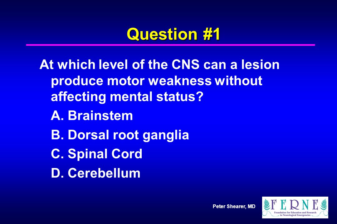 Peter Shearer, MD Question #1 At which level of the CNS can a lesion produce motor weakness without affecting mental status? A. Brainstem B. Dorsal ro