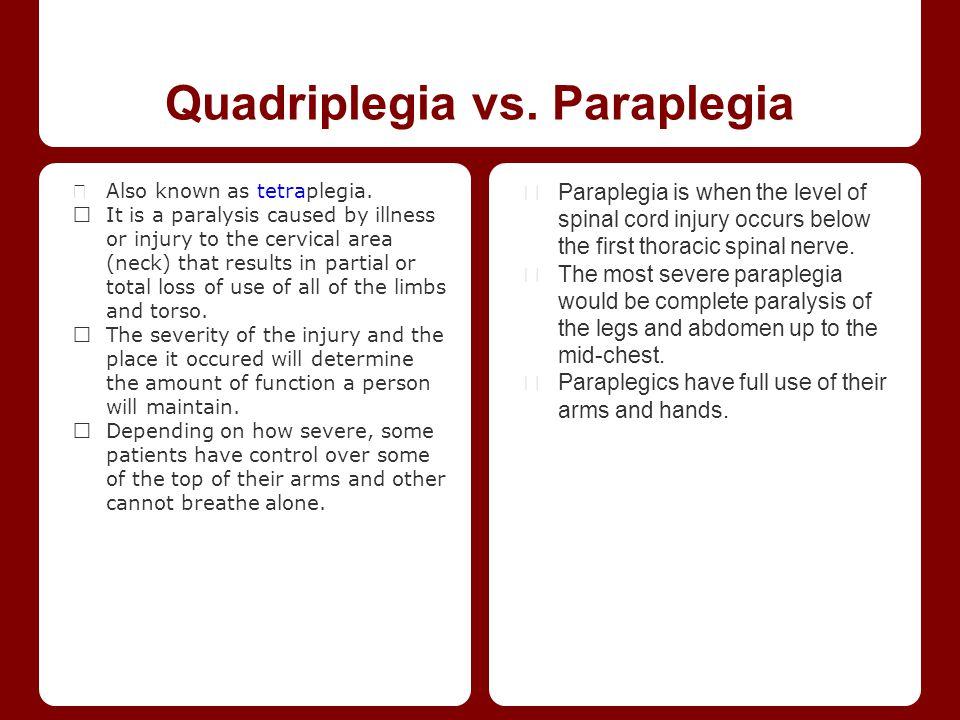 Quadriplegia vs. Paraplegia ★ Also known as tetraplegia.