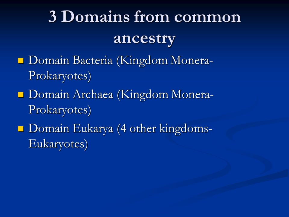 3 Domains from common ancestry Domain Bacteria (Kingdom Monera- Prokaryotes) Domain Bacteria (Kingdom Monera- Prokaryotes) Domain Archaea (Kingdom Mon