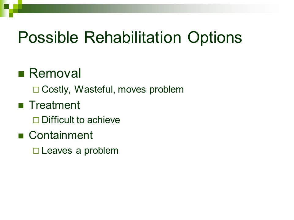 Possible Rehabilitation Options Removal  Costly, Wasteful, moves problem Treatment  Difficult to achieve Containment  Leaves a problem